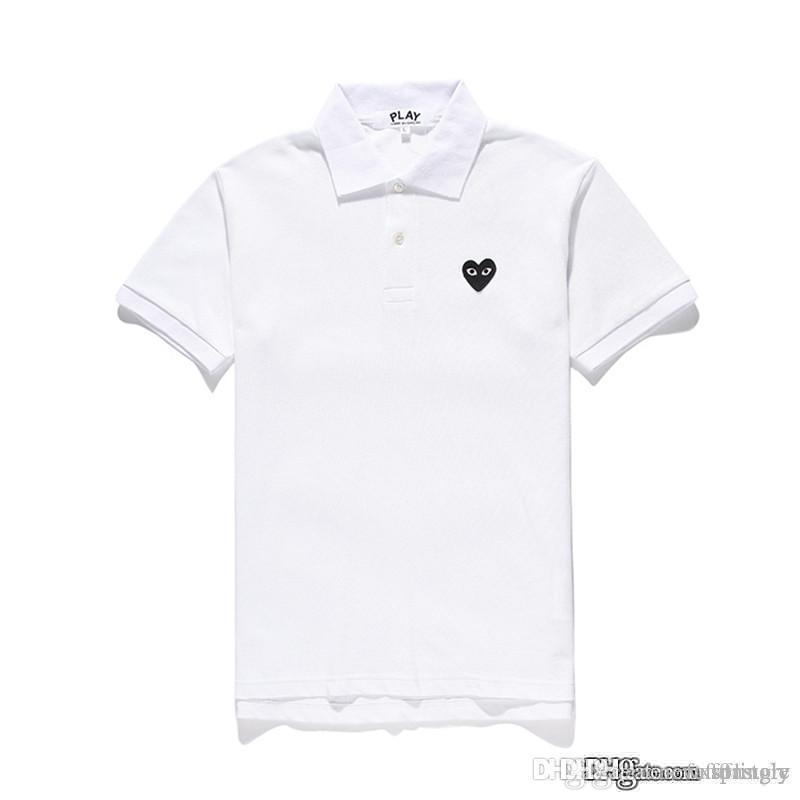 COM Großhandel neue beste Qualität weiß schwarz Herz DES GARCONS spielen schwarz Polo T-Shirt Größe M Made in Japan Junya Homme Plus Tee