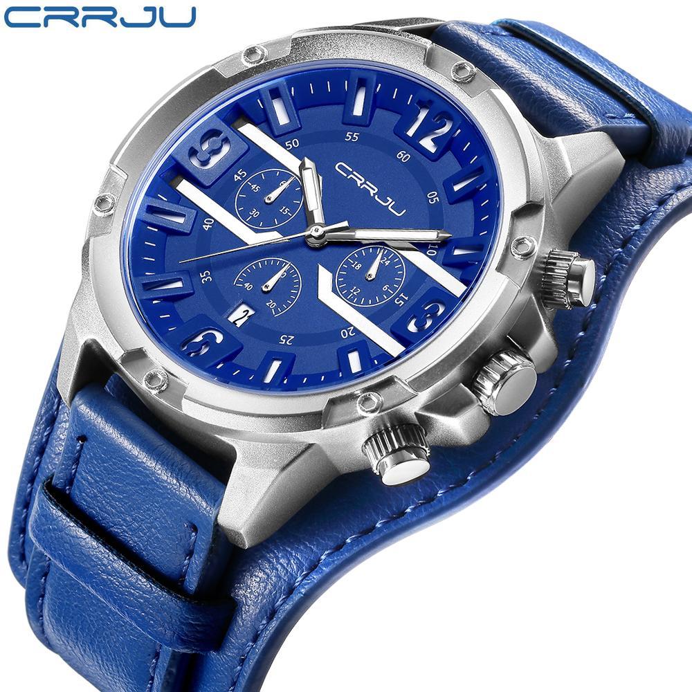 CRRJU Marke Herren Multifunktions-Sportuhren Männer beiläufige Quarz-Armbanduhr-Leder-Männer Military wasserdichte Uhren mit Kasten