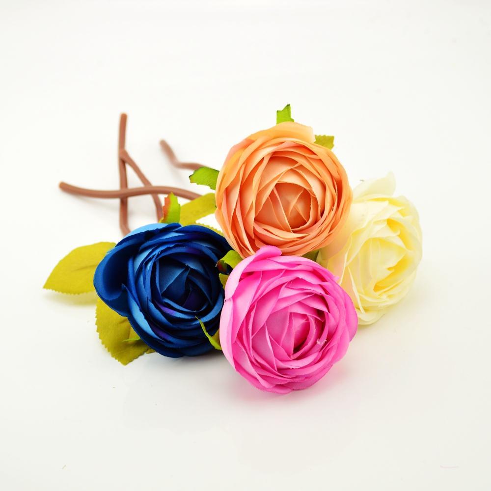Silk roses bouquet for living room Vase home Wedding car decoration Stamens Accessories diy cheap Artificial flower arrangement