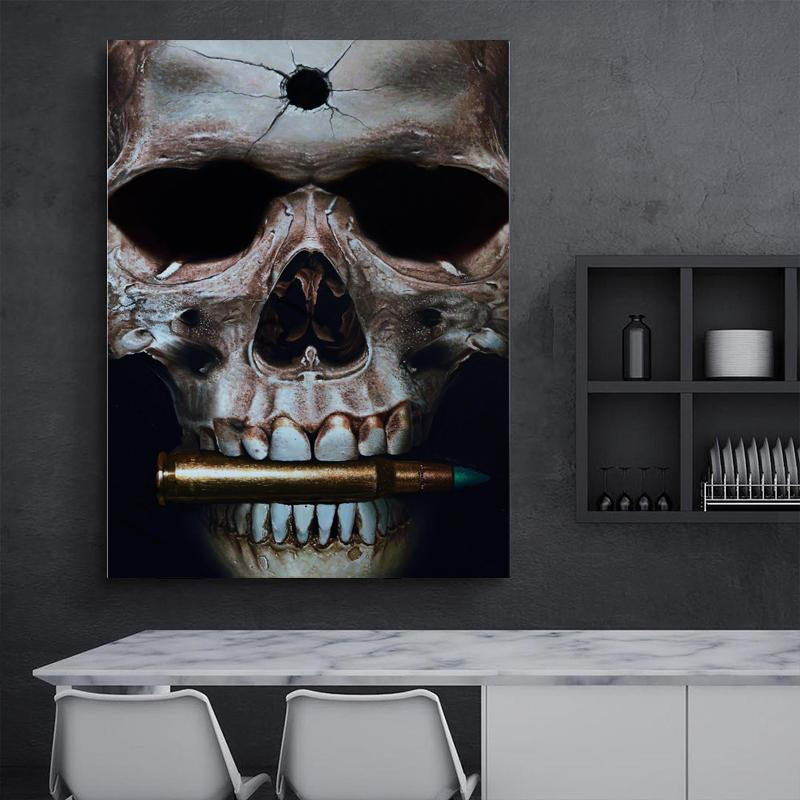 -.33-0014 Black Skull Bullet Butterfly Home Decor Handpainted &HD Print Oil Painting On Canvas Wall Art Canvas Pictures 200