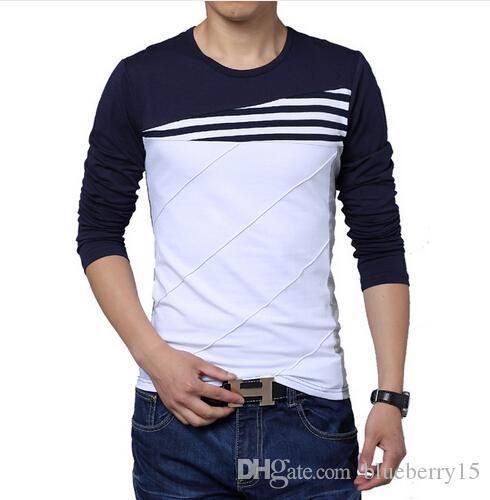 Горячая продажа нового способа O-образным вырезом Trend с длинным рукавом футболки Мужчины Slim Fit Хлопок высокого качества вскользь Men T-Shirt 4XL 5XL