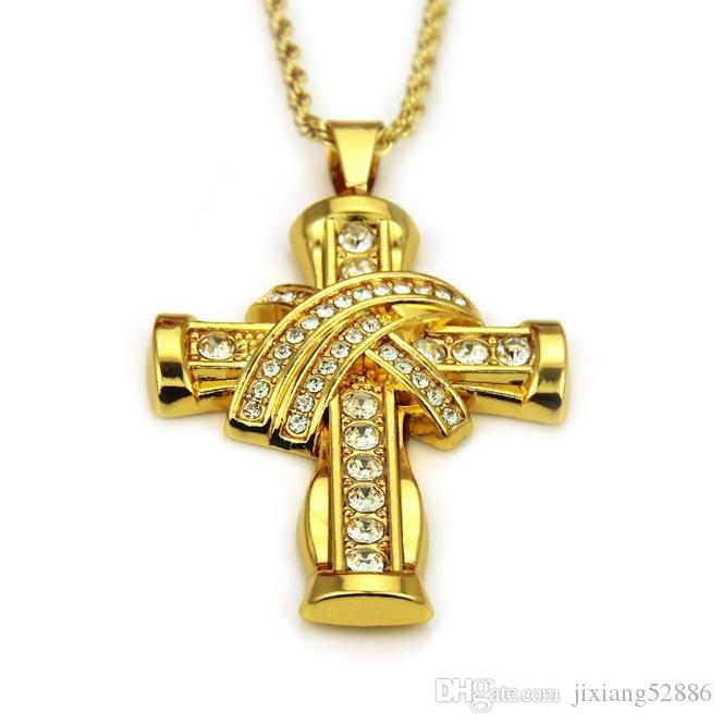 High-end kolye takı moda takı 18 K altın kaplama elmas erkek Kolye çapraz tasarımcı mükemmel tasarım butik serisi 533 #