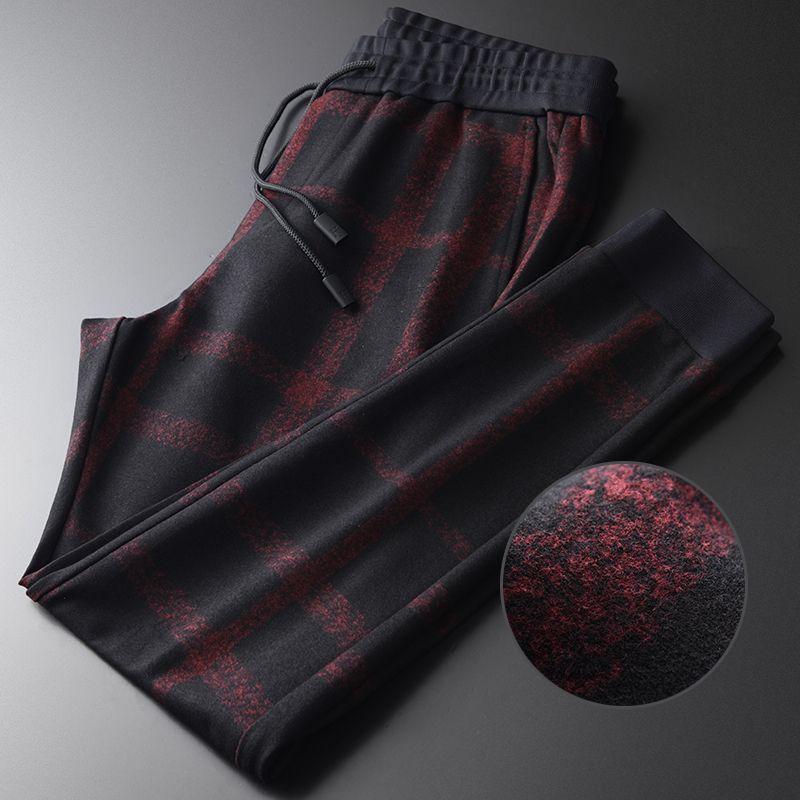 Hommes de luxe velours Yarn Dyed Plaid taille élastique épais Homme Fashion Slim Fit Pantalons simple Sport Homme Taille Plus