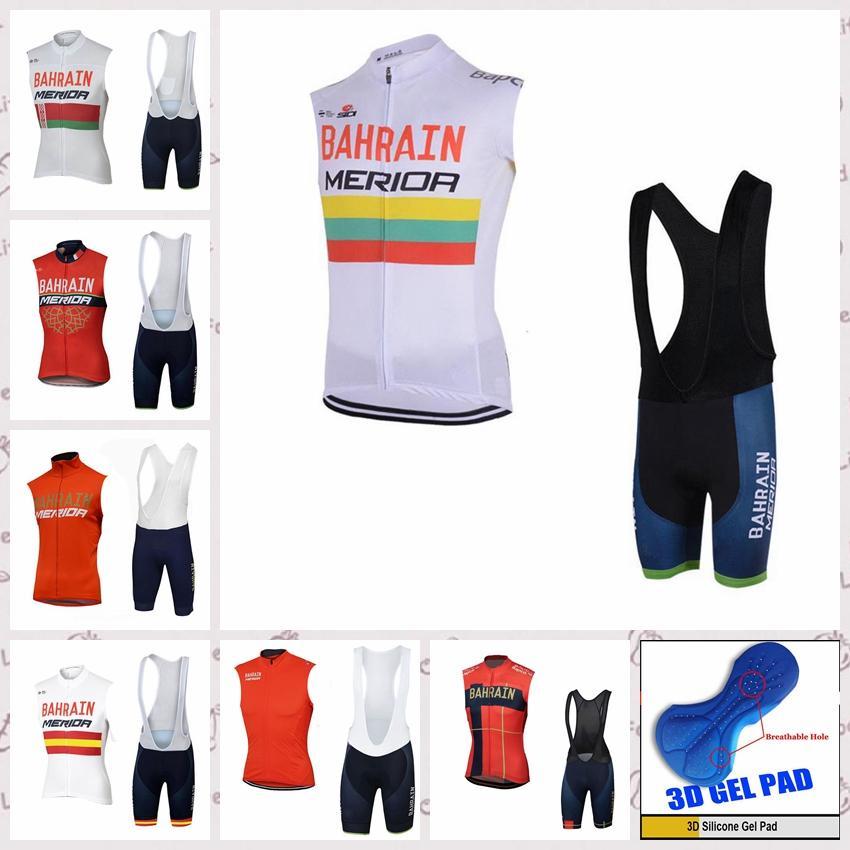 Bahreïn équipe Hommes cyclisme Les maillots sans manches gilet Cuissard ensembles respirant vélos Vêtements de sport Bike Vtt E61836
