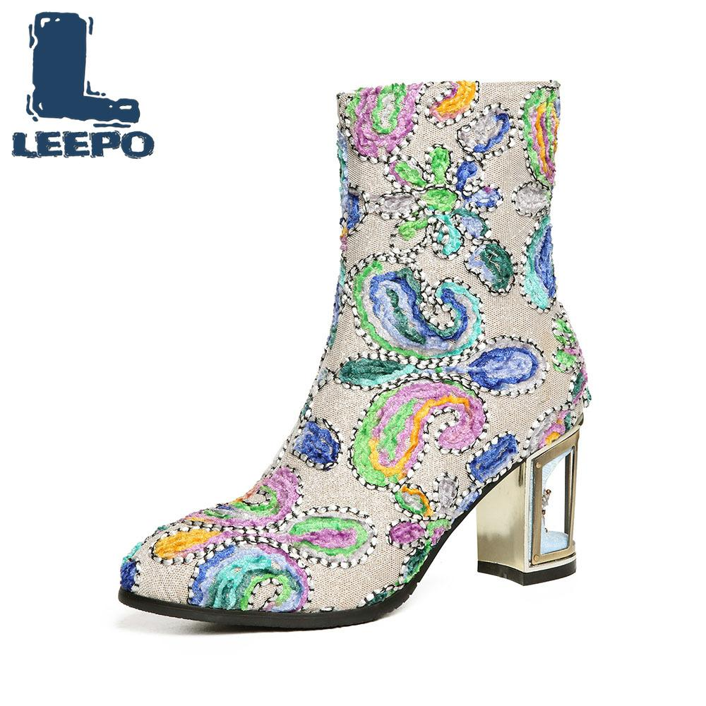 Bottes mi-mollet LEEPO pour femmes Graffiti Embroider Booties Femme Pointu Toe Jacquard Chiffon À La Main Talons Bottes Femme Chaussures Rouges