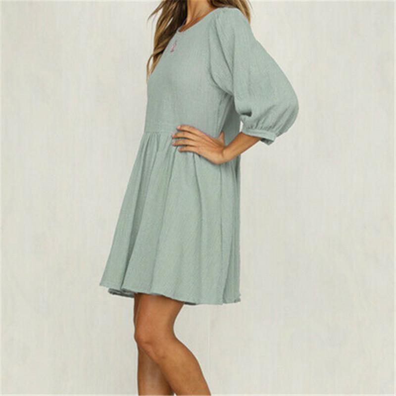Tatlı Stil Bahar Bayan Tatil Casual Mini Elbise Bayanlar Üç Çeyrek Puff Kol Bluz Yaz Plaj Pileli Sun Dress Salıncak