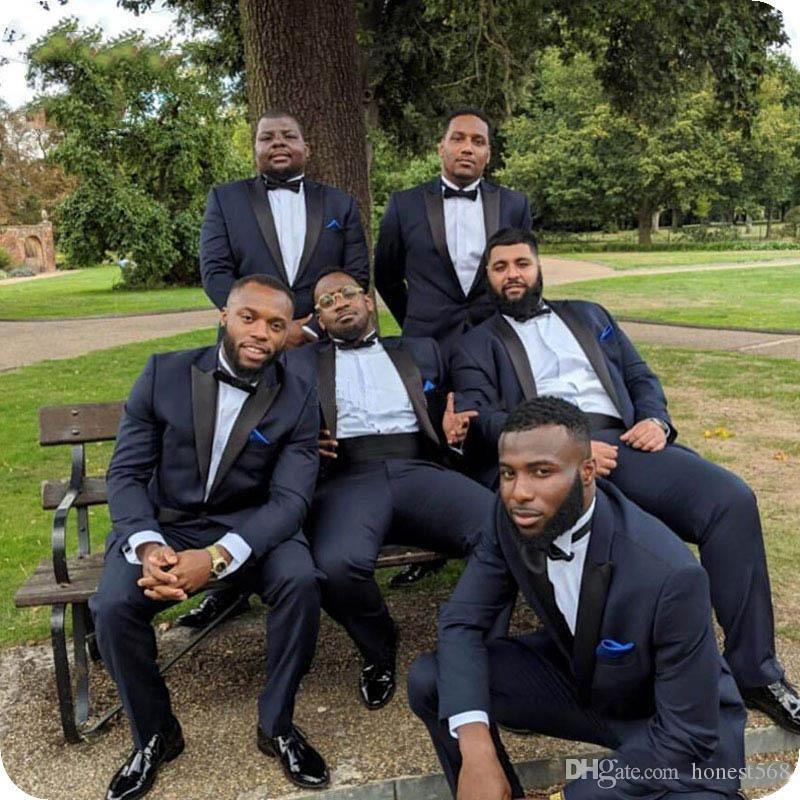 Cheap And Fine One Button Groomsmen Peak Lapel Groom Tuxedos Men Suits Wedding/Prom/Dinner Best Man Blazer(Jacket+Pants+Tie) A514