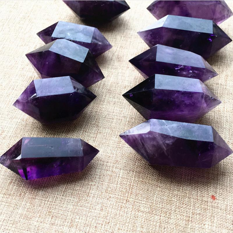 Natural Uruguay amethyst double-tipped pillar amethyst hexagonal prism decoration energy heal crystal stone gift factory direct sales