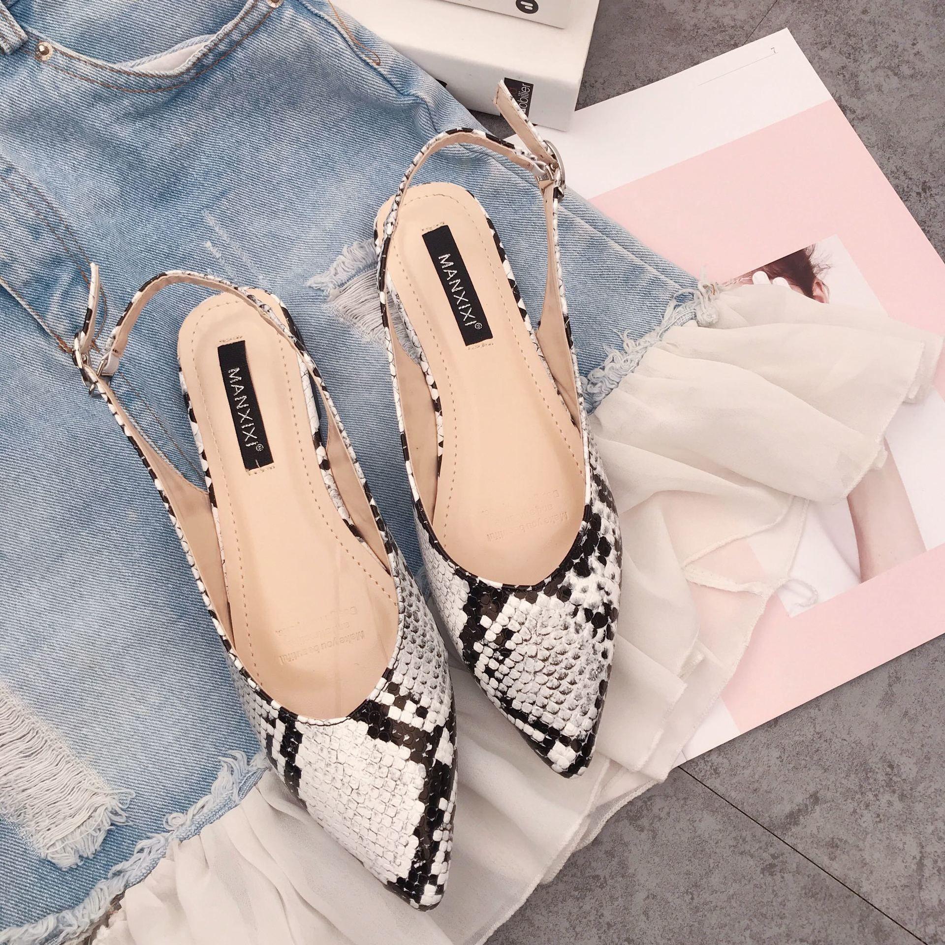Pretty2019 Serpent Xiashushi Grain Sharp Bouche Peu Profonde Sandale À Fond Plat Bas Avec 40 Code Chaussures Pour Femmes