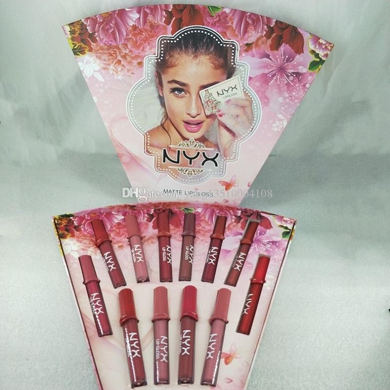 2020 Yeni Makyaj NYX Mat Lipgloss NYX Rujlar 12 adet Set 12 Renkler Dudak Parlatıcısı Sıvı Ruj Kozmetik Hediye Su Geçirmez Noel