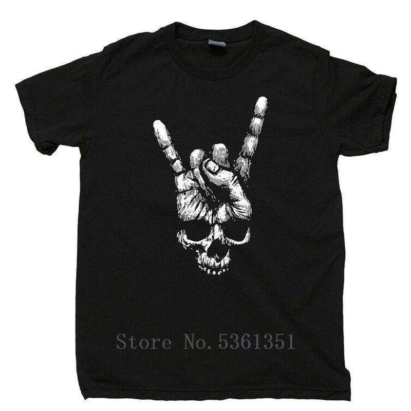 Череп Рука знак рогов T Shirt Heavy Metal Rock N Roll Группа татуировки Тройник тенниски мужчин смешные футболки мужские рубашки тройника