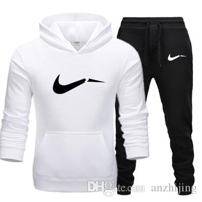 New 2019 Brands Tracksuit for Men Thermal Sportswear Sets Fleece Thick Hoodie+Pants Casual Sweatshirts Sport Suit Mens Clothing 9 Styles