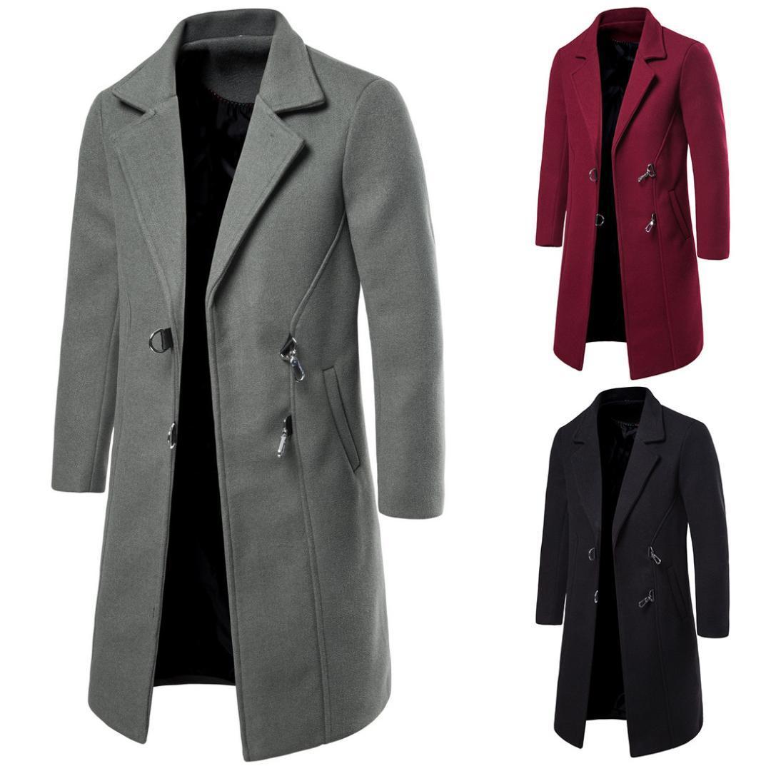 Winter New Wollmantel der Männer beiläufige lange Wollmantel Männer Normallack beiläufige Art und Weise Jacke