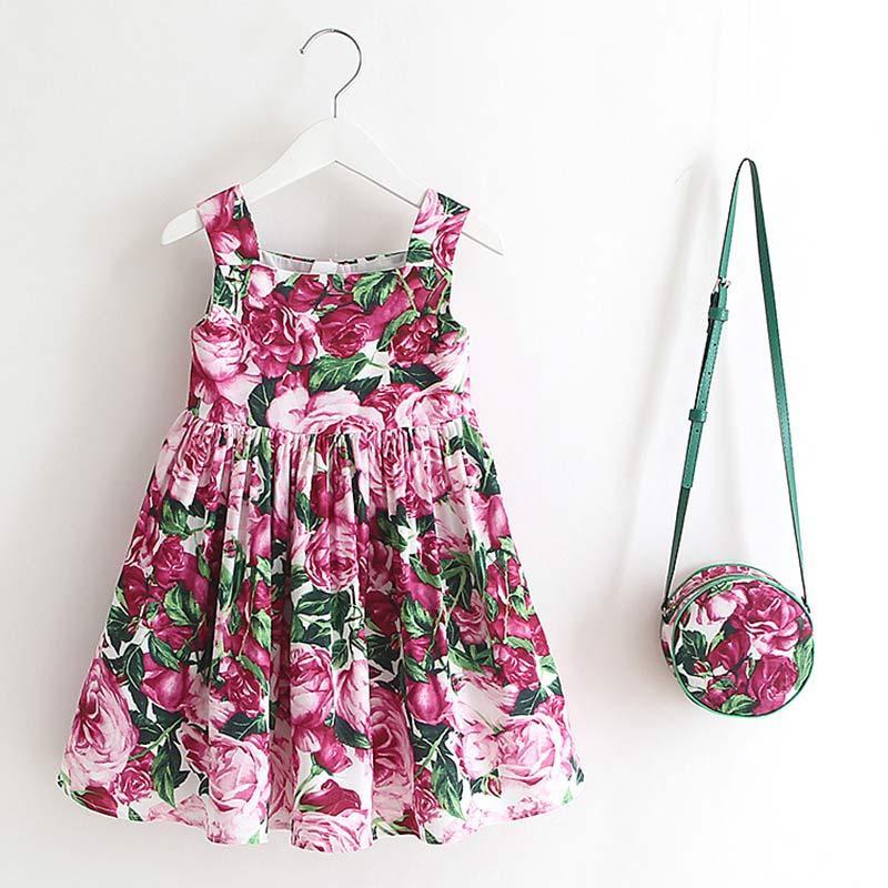 Bir torba Kızlar Elbise 2-6Y ile 2020 Avrupa Ve Amerikalı Stil Çocuk Suspenders Çiçek Parti Elbise Bebek Kolsuz Elbise