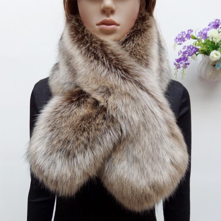 new arrival winter faux raccoon fur scarf fake fox fur muffler women faux fur collar colorful patchwork scarf eco-friendly D19011003