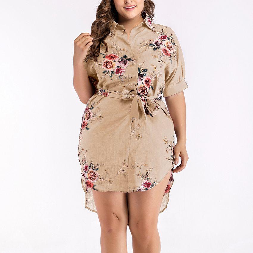 Grande taille femmes robe élégante fleur imprimer demi-manche tunique robe de soirée, plus la taille robe pour les femmes swag ourlet chemise vêtements femmes