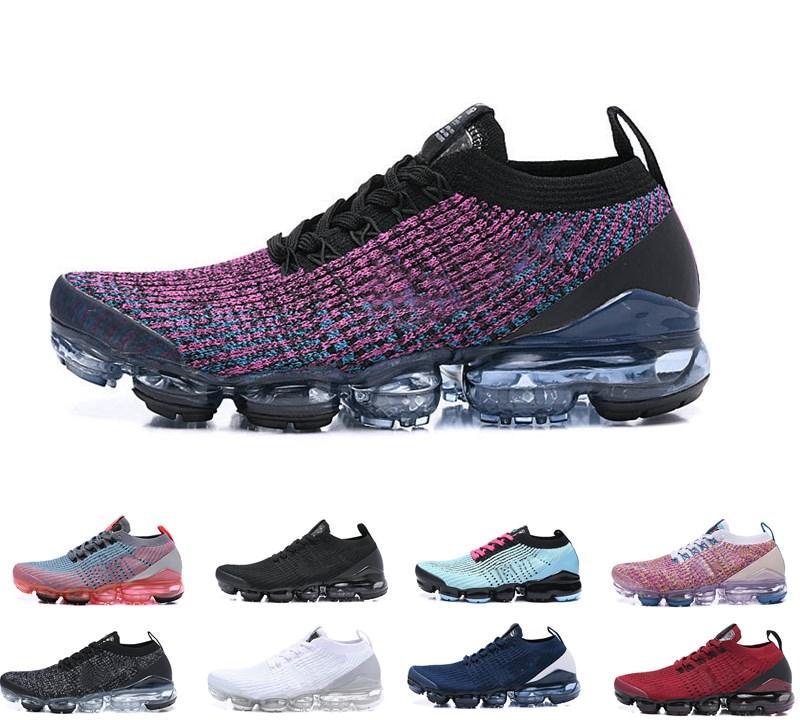 2019 Scarpe da corsa da donna economiche da uomo Vapormax flyknit Fly 2.0 3.0 Scarpe da ginnastica bianche nere triple a maglia Be True Mesh Sneakers 36-45