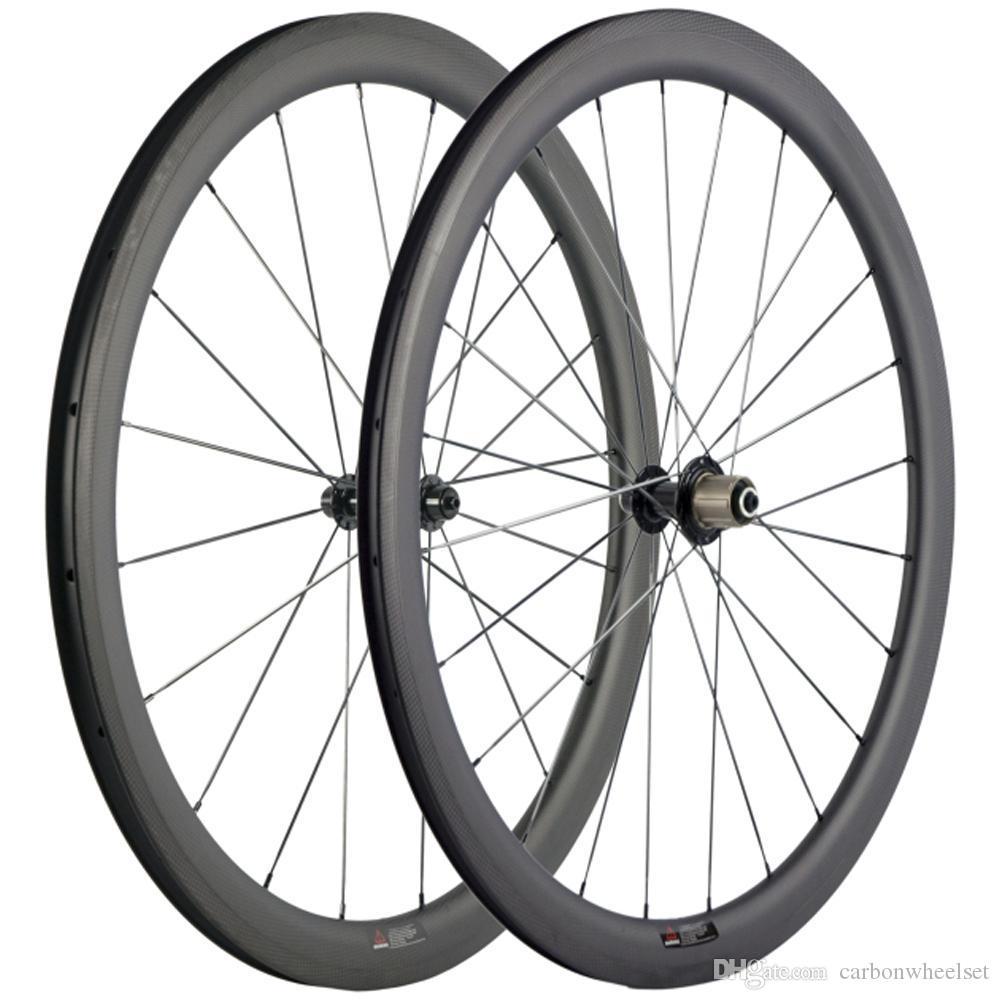 وزوج الدراجات الكربون عجلات 40MM 3K ماتي مع 3K السطح الفرامل عجلات الكربون الطريق دراجة العجلات مع الأسود R13 محور العجلات 25MM