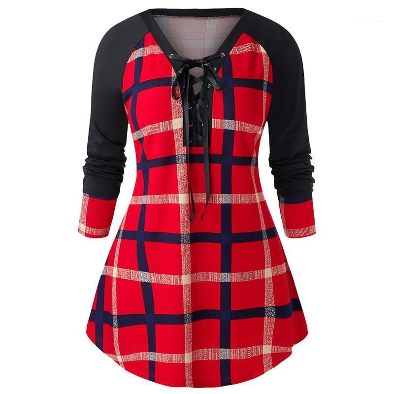 Taille lambrissé Avslappnad Hauts pour femmes manches longues T-shirt Vêtements de mode femmes Designer Plaid Blouse plus