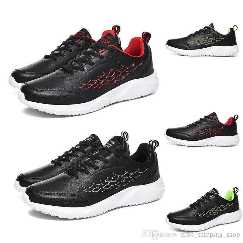 Weiche Bottoms Herren-Schuhe Schwarz Weiß Rot Ledersportschuhe Herren Turnschuhe Turnschuhe Selbst gemachte Marke Made in China Größe der laufenden 39-44