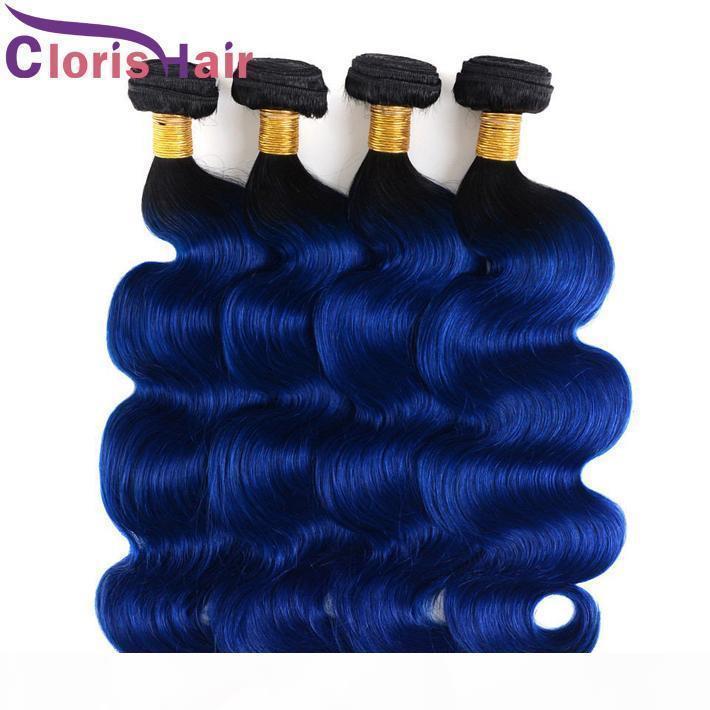A A 1b moda azul Ombre armadura 100% virginal malasio onda del cuerpo extensiones del pelo humano 3pcs barato dos tonos de color mojado y ondulado Ombr