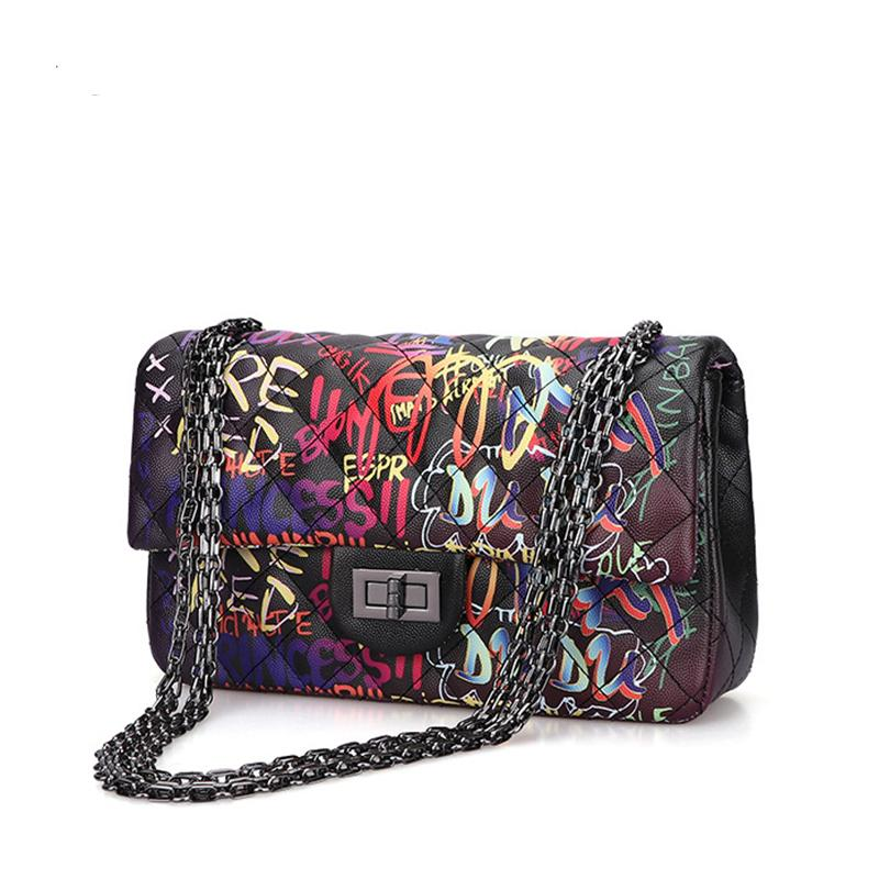 Graffiti-Schulter-Beutel für Frauen 2020 Handtaschen Sommer-Beutel-Leder-Ketten-Handtaschen Damen Handtaschen