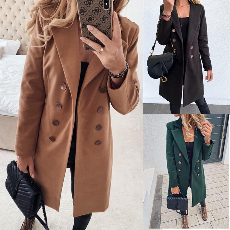 الشتاء معاطف وجاكيتات المرأة مزدوجة الصدر معطف طويل الكورية أنيقة خمر معطف أنثى زائد الحجم الدافئة الأسود السترة سترة