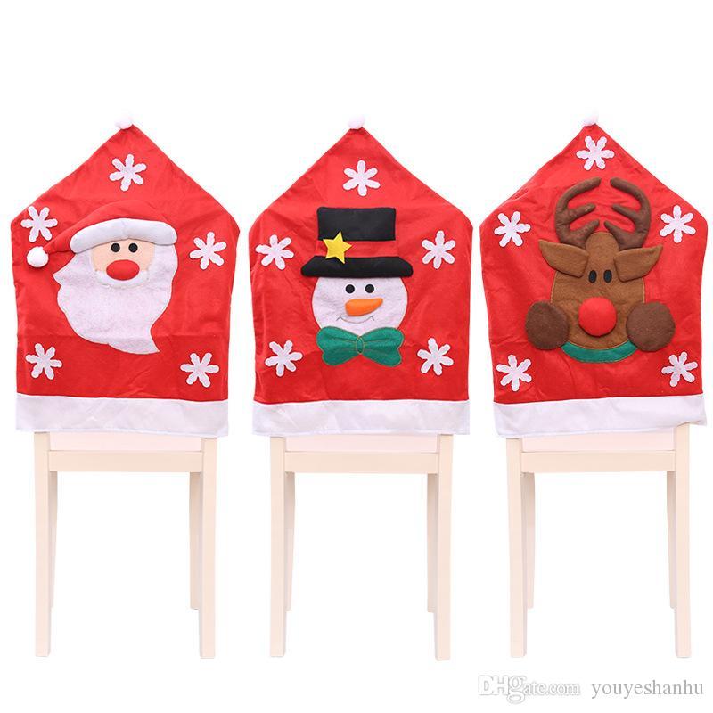 Escena navideña Decoraciones Espiritual navideño Cubierta de silla de tela Medio estereoscópico conjunto de sillas de Santa Claus Elk