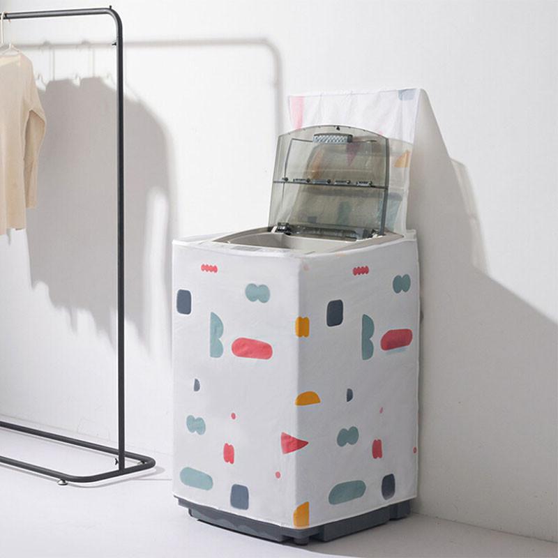 Цветочная геометрическая раскладушка молния утолщенная печать PEVA водонепроницаемый барабан стиральная машина пылезащитный чехол стиральная машина крышка