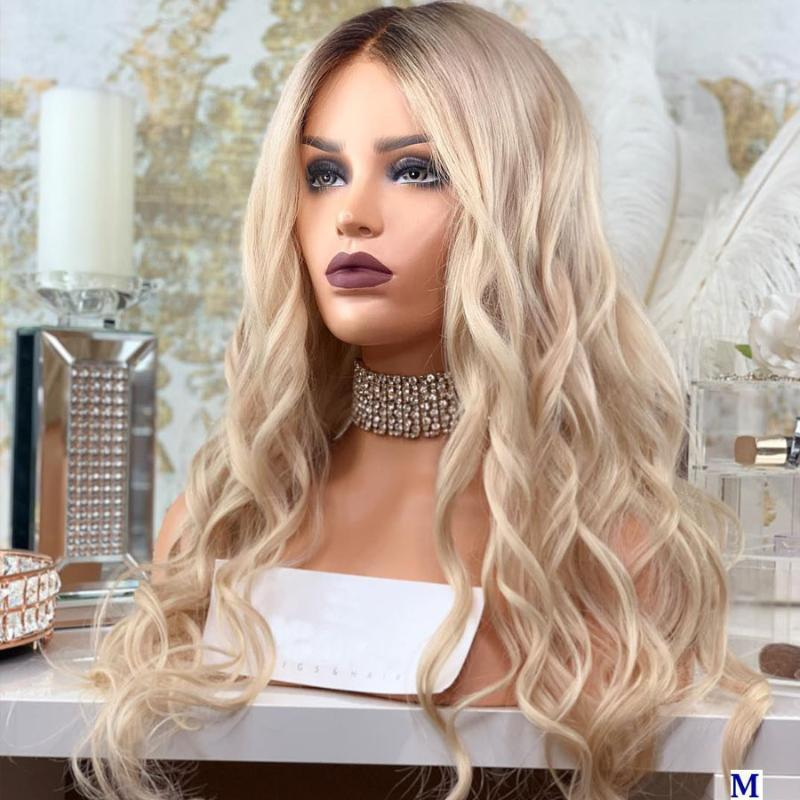 Eversilky Beige Blonde Body Wave 13x3 Lace Front Human Hair Wigs for Black Women 180Density Ombre Full Lace Wigs Bleached Knots
