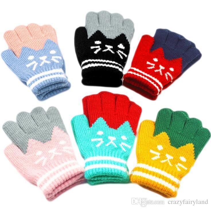 Kids Winter Half Full Finger Glove Children Warm Gloves 2 In 1 Knitted Mitten