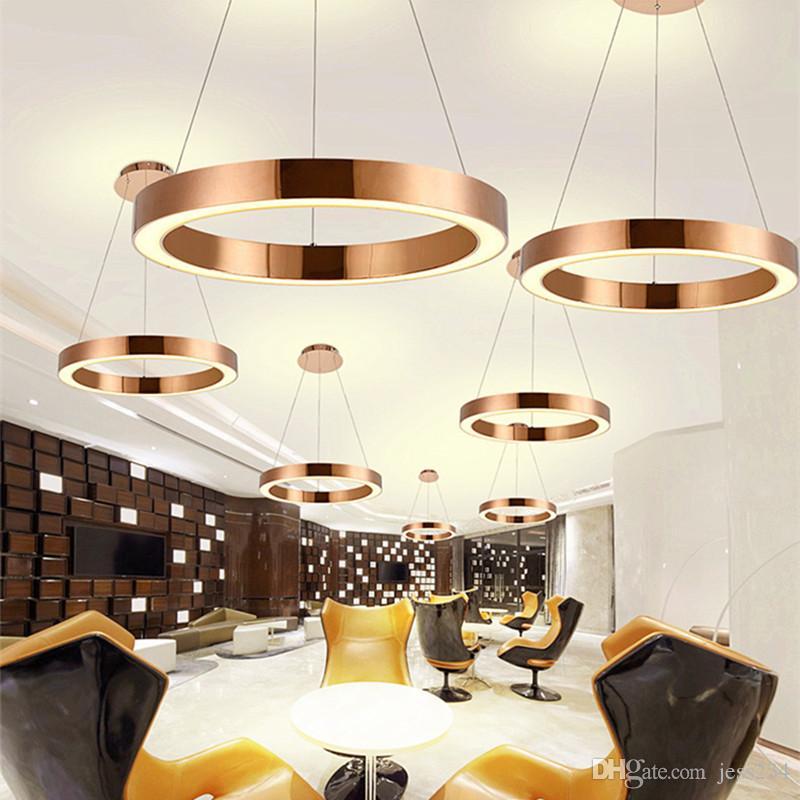 Acheter Or Moderne Nordic Rose Restaurant LED Lampe Suspendue Cercle Anneau  Suspension Luminaire Salle À Manger Lumières Chambre Livraison Gratuite De  ...