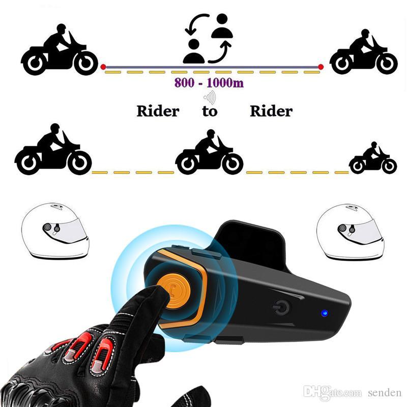 Motorrad BT-S2 Pro Kopfhörer Motorrad Intercom Sturzhelm-Kopfhörer drahtloser Bluetooth Wasserdichtes Sprech 1000M intercomunicador Moto FM S2