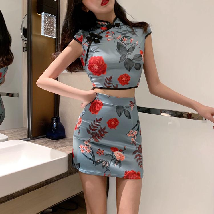 fashion two piece set Women's Clothing crop top print stand tops summer vintage style High waist floral bodycon min-skirts new
