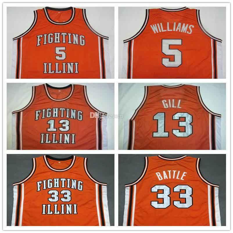 5 Deron Williams # 13 Kendall Gill # 25 Nick Anderson # 33 Kenny Battle Illinois combattre Illini College de basket de basket-ball rétro Nouvelle cousue