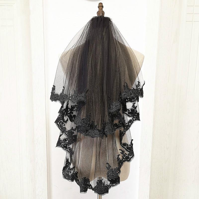 Новая Black Bridal вуаль кружевной край дешевые два слоя свадебные аксессуары 2020 марок Свадебная вуаль Casamento Welon Slubny