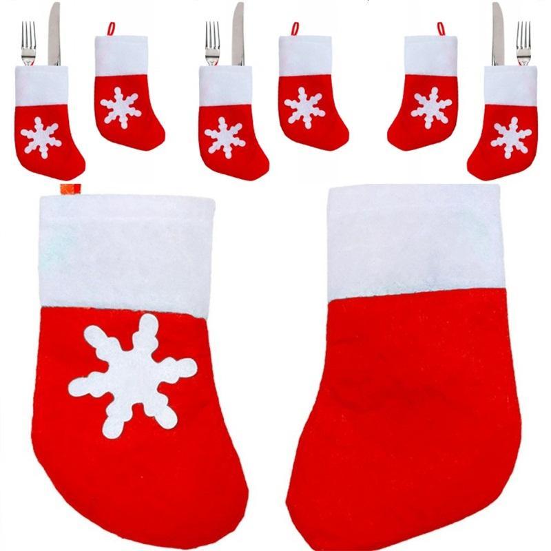 Calcetines Modelado Vajillas Bolsas Decoraciones navideñas Vajilla de una pieza Mangas Festival Tenedor Cuchillos Cuchillos Eco Friendly 0 55gx L1