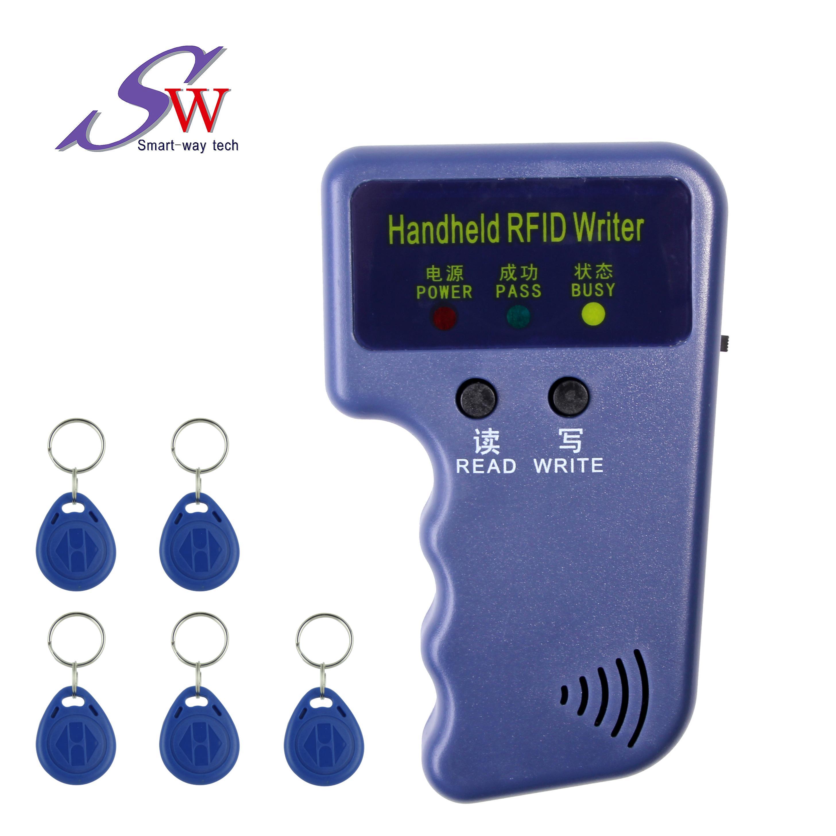 RFID duplicatore Handheld 125KHZ ID Card Copier scrittore + 5pcs T5577 riscrivibili abs blu carte portachiavi anche possibile utilizzare carta EM4305 chip