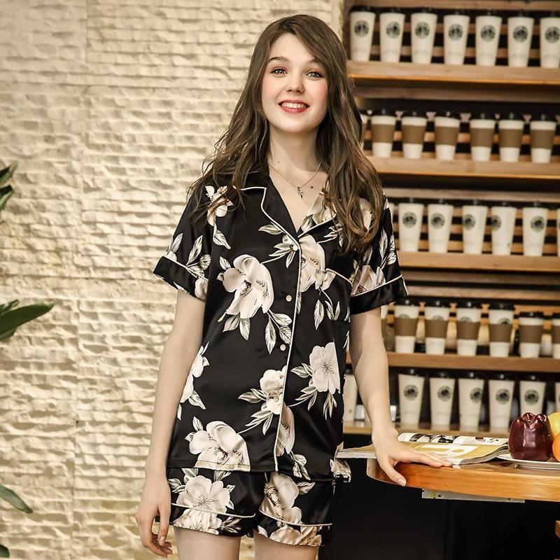 Новые пижамы для женщин Sexy короткого лето пижамы Комплекты дамы цветок печать Ночной Sexy Soft Satin шелковой пижама пижамы