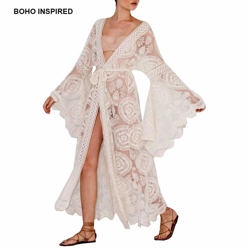 Boho Inspired Floral Print Bell Sleeve Lace Maxi Wrap Summer Tunic Dress Bohemian Holiday Kimono Beach Dresses Vestidos 2018 Y19051001