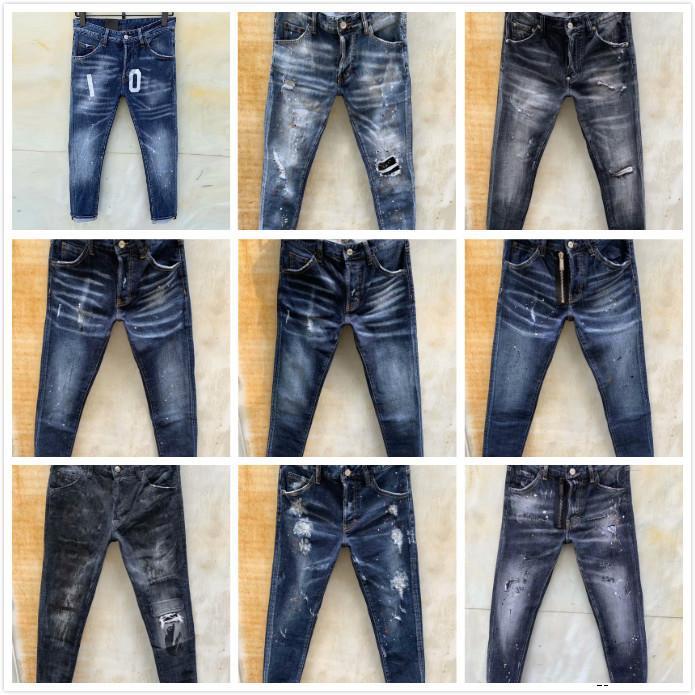 dsquared2 jeans vaqueros para hombre del diseñador pantalones de mezclilla rasgados negros mejor versión flaca roto H4 Italia moto marca rock revival motocicleta