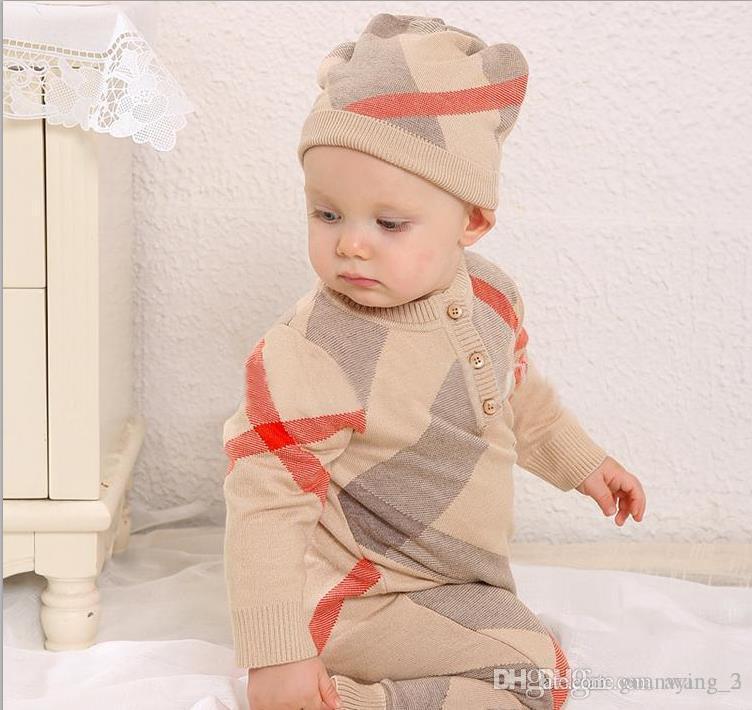 2019 Garçons Filles barboteuses Pulls bébé Pull à carreaux en tricot pour enfants vêtements automne hiver nouveaux enfants Pulls garçon Vêtements fille 0-2T
