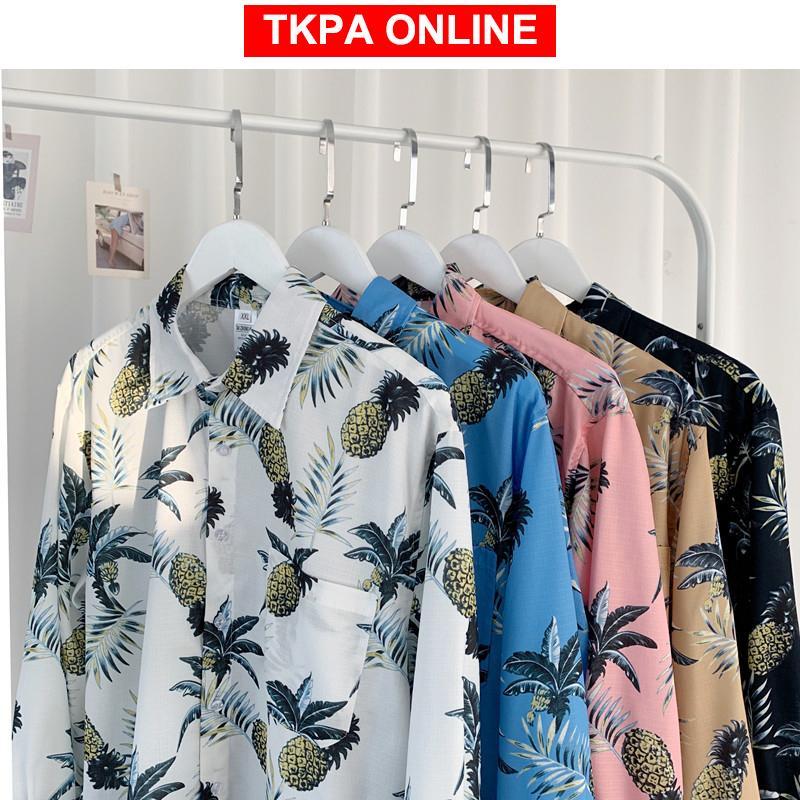 Mens Korean Fashions Hawaii Shirts 2020 Summer Mens Harajuku Loose Shirts Long Sleeve Male Casual White Button Up Shirt
