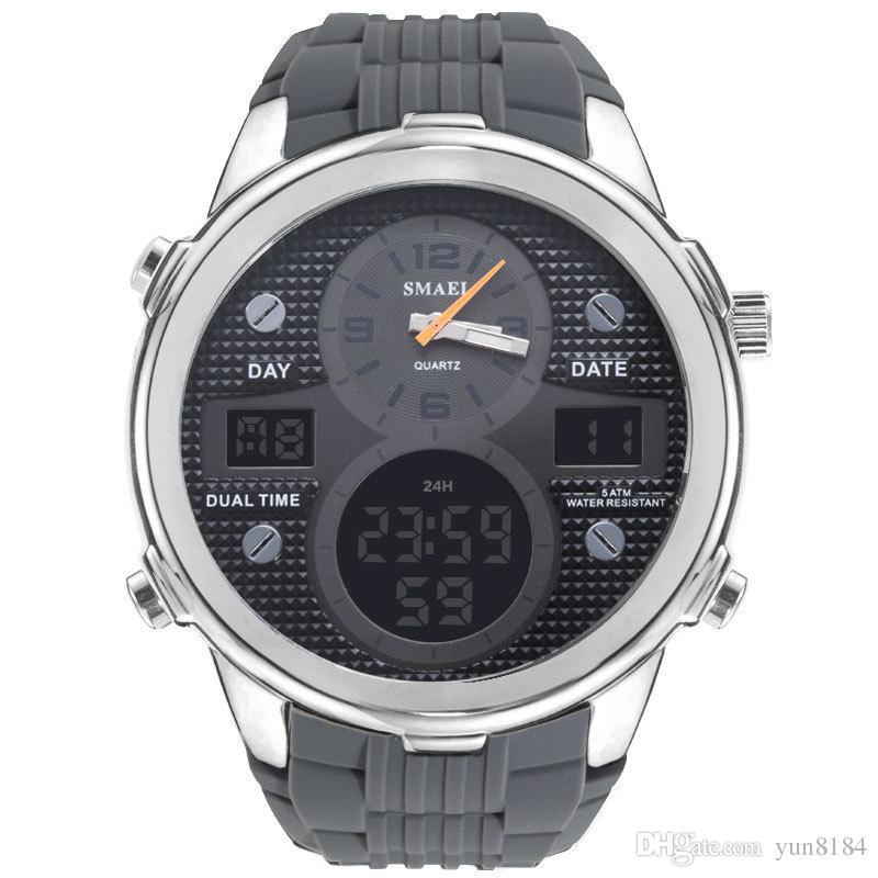 2019 nuovo orologio da polso sportivo in lega multi-funzione orologio da uomo impermeabile doppio display
