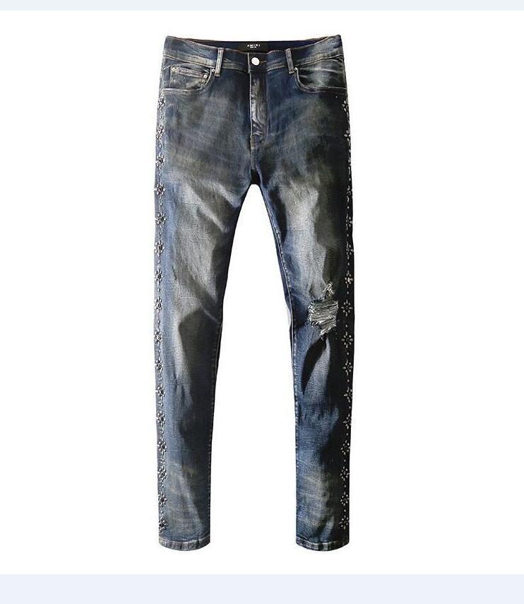 Новый французский стиль мода мужские джинсы высокое качество синий цвет Skinny Fit Сплайсированные рваные джинсы Top Street Destroyed Biker Denim Jeans 303
