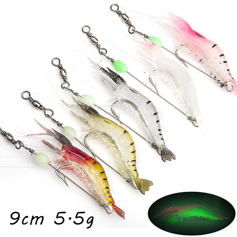 5 Color Mixed Luminous Shrimp Soft Baits & Lures 9CM 5.5G Single Fishing Hooks Pesca Fishing Tackle KL_55