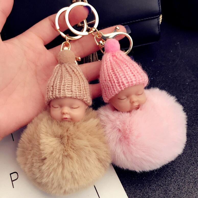 12 لون لطيف النوم الطفل دمية المفاتيح pompom الأرنب الفراء الكرة مفتاح سلسلة مفتاح السيارة كيرينغ المرأة حامل حقيبة قلادة