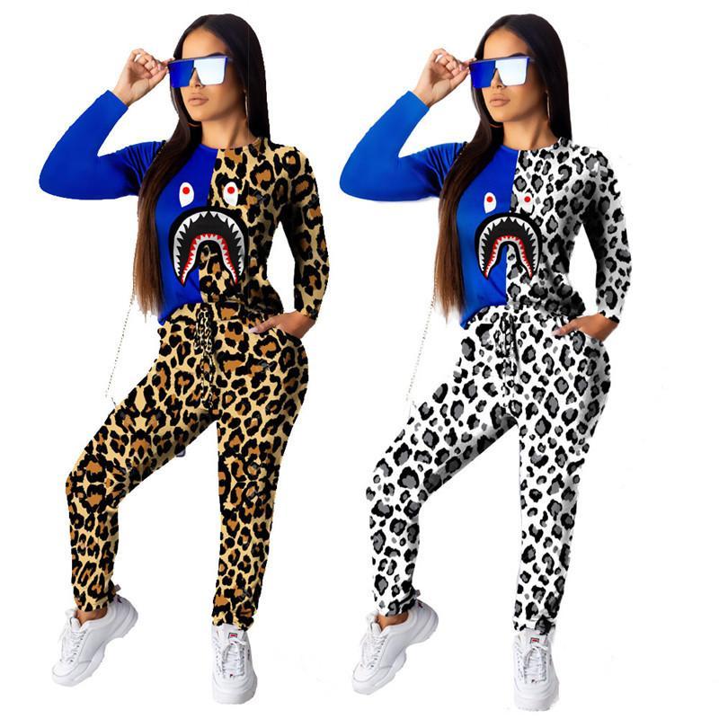 Leopard Shark печати Футболка Tracksuit Женщины с длинным рукавом Футболка Блуза + брюки Брюки 2 Piece Set Лоскутная Популярные Outfit костюм S-2XL