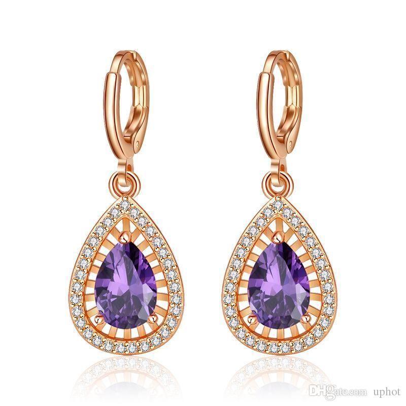 Caliente uphot 6 pares de Oro Luckyshine Gota de Agua Natural Rose del cristal plateado pendientes púrpura Cubic Zirconia joyería Gems cuelga los pendientes de las mujeres