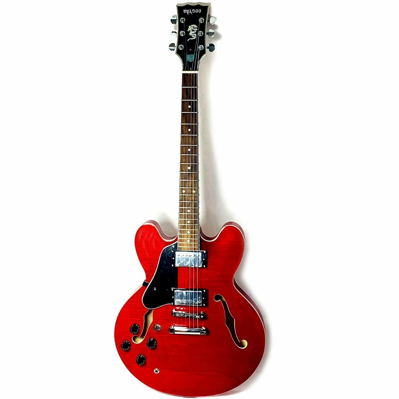 Musoo 335 스타일의 왼손 재즈 일렉트릭 기타 플레임 메이플 탑 세미 할로우 바디